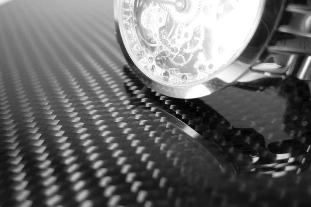 Carbon Composite - Carbon Platte hochglanz Uhr Spiegelung
